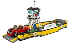 Ferry with gates that can be raised and lowered and a space above the deck for the captain to pilot the boat. Accessory elements include a car, a mug, phone and 2 fire extinguishers. Includes 2 minifigures: a businessperson and ferry boat captain. LEGO CITY Ferry 60119 - toys4mykids.com