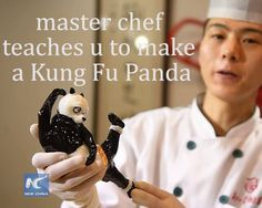 Chubby but agile! Chef teaches you to make sugar figure #KungFupanda, who has a round & bamboo-munching face and possesses wisdom and strength.  Do you remember the philosophical saying in the movie?   Yesterday is history, tomorrow is a mystery, today is a gift of God, which is why we call it the present.(Xinhua/Wang Peng)