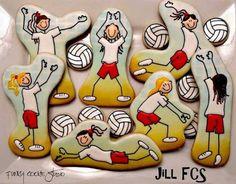 Volleyball cookies by Jill FCS Summer Cookies, Cookies For Kids, Fancy Cookies, Cut Out Cookies, Cute Cookies, No Bake Cookies, Best Cookies Ever, Best Sugar Cookies, Iced Cookies