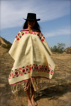 Antique Serape Poncho Mexico