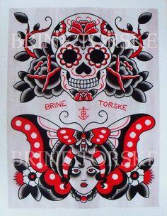 ideas tattoo traditional american skull awesome for 2019 Small Skull Tattoo, Skull Tattoo Design, Tattoo Designs, Key Tattoos, Cool Tattoos, Awesome Tattoos, Tatoos, Old School Tattoo Sleeve, Bird Tattoo Sleeves