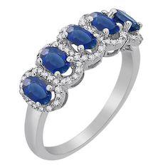 JR02824SAP - 18 Kt White Gold Five Stone Sapphire & Diamond Ring