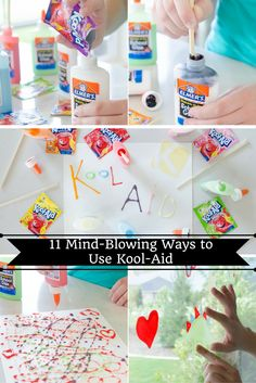 Mind-Blowing Ways to Use Kool-Aid Make scented glue window clings with Kool-Aid!Glue (disambiguation) Glue is any fluid adhesive. Glue or GLUE may also refer to: Fun Crafts, Diy And Crafts, Arts And Crafts, Diy Cleaning Products, Cleaning Hacks, Diy Hacks, Diy For Kids, Crafts For Kids, Do It Yourself Organization