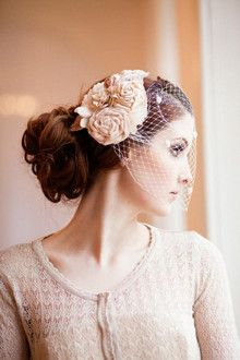 French net veil with pink flowers