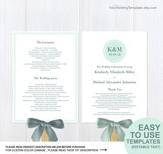 Light Blue Teal Wedding Program Template Folded Wedding Program