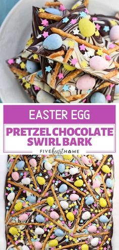 Easter Bark is a simple, festive, spring treat featuring swirled chocolate topped with mini chocolate eggs, pretzels, & pastel sprinkles! Easter Food, Easter Candy, Easter Treats, Easter Eggs, Mini Egg Recipes, Easter Recipes, Spring Recipes, Sweet Desserts, Delicious Desserts
