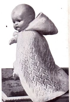 Genuine Vintage Dolls or Premature Baby Pretty Ultra-Lacy Cape with Hood Christening Knitting Pattern PDF