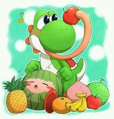 Yoshi & Kirby as watermelon Super Smash Bros, Super Mario Bros, Yoshi Island, Video Game Art, Video Games, Yoshi's Woolly World, Games Images, Mario Party, Mario And Luigi
