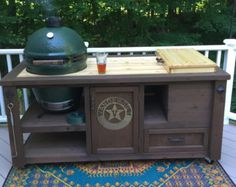 Custom Grill Table or Grill Cart for Big Green Egg, Kamado Joe, Primo or add a Gas Grill drop-in & Mini Fridge for an Outdoor Kitchen Table Grill, Grill Cart, A Table, Patio Grill, Camping Grill, Coffe Table, Big Green Egg Table, Green Eggs, Grill Brands
