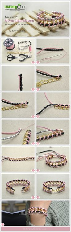 Jewelry Making Tutorial-How to DIY Woven Chain Bracelet with Leather and Suede Cord | PandaHall Beads Jewelry Blog