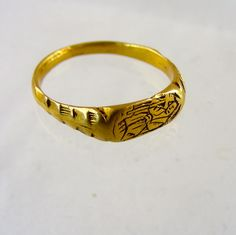 """Fourteenth century gold iconographic ring. English ca 1350 Size """"L"""" US """"6″. Weight 3 grams, size of bezel 11mm x 5mm. For sale at www.No1mayfair.com"""