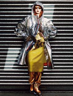 Jacket Issey Miyake. Top and skirt Véronique Branquinho. Trousers Vionnet. Sunglasses Sonia Rykiel. Belt Prada. Shoes Damir Doma.