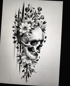Cool Skull Tattoos For Women – My hair and beauty Skull Tattoo Flowers, Skull Rose Tattoos, Flower Skull, Flower Tattoos, Body Art Tattoos, Butterfly Tattoos, Foot Tattoos, Full Tattoo, Dark Tattoo