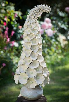 Dreaming Spires/Ivory Hollyhock - thrown and modelled stoneware
