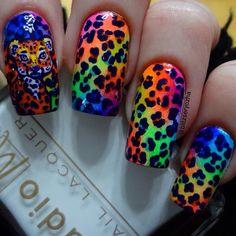 "Lisa Frank-inspired leopard print nails using Studio M ""French Tip"" ""Neon Pink"" ""Orange Sunset"" ""Neon Caution"" ""Neon Greenlight"" ""Lightening Blue"" and ""Thunderbolt"" and acrylic paint! I'll have the tutorial up later today. #studiompolish #colorclub #nails #nailart #nailpolish #lisafranknails #lisafrank #leopardnails #cheetahnails #rainbownails #gradientnails #neonnails #cutenails #handpaintednailart by blitzseryozha"