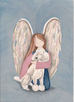 Standard bred white poodle with angel / Lynch by watercolorqueen