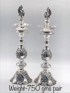 Silver Jewellery Indian, Gold Jewellery Design, Jewellery Display, Silver Jewelry, Silver Lamp, Silver Trays, Silver Pooja Items, Pooja Room Design, Silver Ornaments