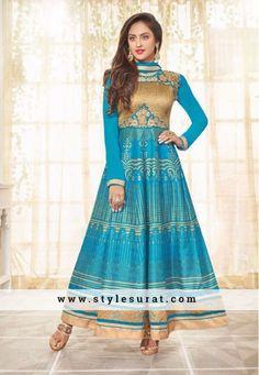 Pretty Sky Blue Printed Anarkali Salwar Suit