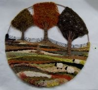 "Autumn 18"" Handwoven Landscape nature countryside farming sheep wool handmade craft weaving  Unusual gift ideas Buy online at www.jinneyring.co.uk"