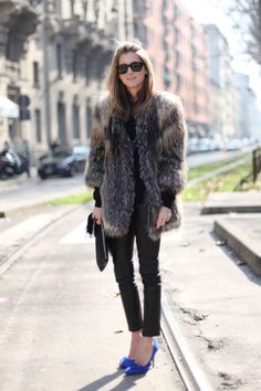 Fur and blue shoes