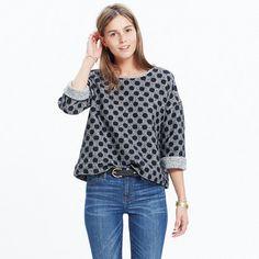 The sweatshirt is taken up a notch with a boxy, cool fit and bracelet-baring sleeves. And, yeah, it's reversible—from bold polka dots to marled black and white (looks great cuffed, in other words). <ul><li>Boxy fit.</li><li>Nylon, cotton/poly/spandex.</li><li>Machine wash.</li><li>Import.</li></ul>