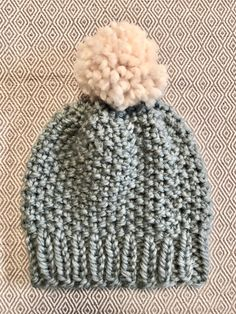 5aaa5c8b365 Excited to share the latest addition to my shop  Cute Handmade Chunky  Pebble Beanie Seed Stitch Knit Hat