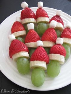 Lots of fun Grinch party ideas for Christmas!|| Grinch Fruit Skewers - Clean and Scentsible || Fruit Platters for Kids: 10 Christmas Party Platters! || Letters from Santa Holiday Blog