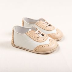 Boys Beige & Ivory Wingtip Shoes - Baby Boy Leather Dress Shoes - #BabyShoes #BabyBoy Nike Shoes For Boys, Boys Dress Shoes, Baby Boy Shoes, Crib Shoes, Baby Boy Outfits, Cheap Kids Clothes, Kids Clothing, Clothing Stores, Babies Clothes