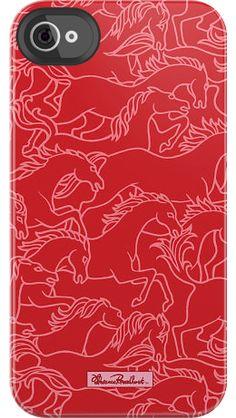 Horses Stampede by Florence Broadhurst for iPhone 4/4S Black Bezel Deflector