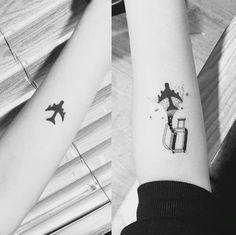 Creative luggage travel tattoo by Masa