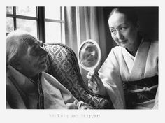 Balthus Klossowsk and his wife Setsuko, by Duane Michals, 1995