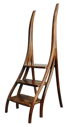 Walnut Library Steps By David N. Ebner (wood Step-stool