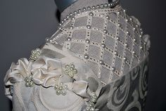 16th Century Venetian Noble gown, made of damask and trimmed with lace, silk and pearls