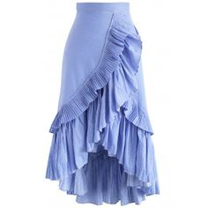 Applause of Ruffle Tiered Frill Hem Skirt in Blue Stripes blue S Applause of Ruffle Tiered Frill Hem Skirt in Blue Stripes blue S,Best Seller Skirts Applause of Ruffle Tiered Frill Hem Skirt in Blue Stripes - New Arrivals - Retro, Indie and Unique Fashion Mesh Skirt, Pleated Midi Skirt, Ruffle Skirt, Ruffles, Unique Fashion, Indie Fashion, Fashion Fashion, Mode Unique, Skirt Outfits