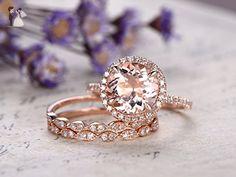 3pcs Pink Morganite Engagement Ring Set,8mm Round Cut Natural Gemstone Solid 14k Rose Gold Diamond Halo Claw Prong Wedding Ring Half Eternity Marquise Milgrain Matching Bridal Promise Band - Wedding favors (*Amazon Partner-Link)