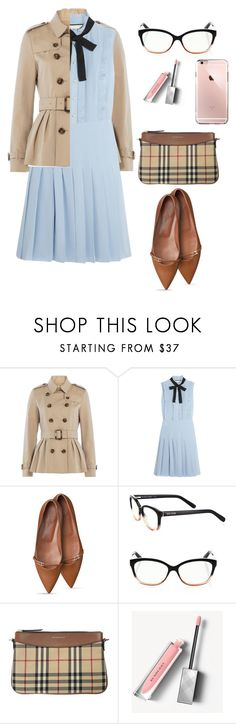 """""""Preppy pleats"""" by koryd ❤ liked on Polyvore featuring Burberry, Gucci and Bobbi Brown Cosmetics"""