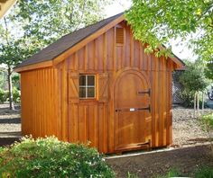 Garden Shed with pine board & batten siding and rounded single door--Livermore, CA http://www.backyardunlimited.com/sheds/garden-sheds