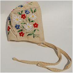 Vintage Baby Bonnet Embroidered Flowers on Ivory velvet, felt lining