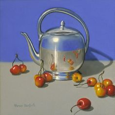 "Daily Paintworks - ""Silver Teapot With Cherries"" - Original Fine Art for Sale - © Nance Danforth"