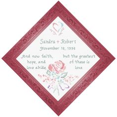 Cross Stitch Wedding Anniversary I Corinthians Personalized Anniversary Gifts, Friendship Gifts, Cross Stitch Designs, Joyful, Wedding Anniversary, Bible Verses, Baby Gifts, Weddings, Bride