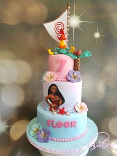Moana cake by Anneke van Dam Moana Theme Birthday, Moana Themed Party, Moana Party, 6th Birthday Parties, Birthday Cake Girls, Bolo Moana, Cute Birthday Ideas, Ocean Cakes, Cupcakes