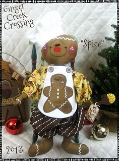 Primitive Christmas Gingerbread Dolls SUGAR by GingerCreekCrossing. I've gotta get one! Too adorable