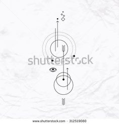 Abstract mystic sign with geometric shapes, chevrons, arrows, circles, dots, and alchemy and masonic symbols, eye, planets orbits and paths. Astrology vector illustration. Simple elegant modern tattoo