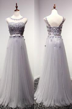 Pd0933 High Quality Prom Dress,A-Line Prom Dress,Tulle Prom Dress,O-Neck Prom Dress, Appliques Prom on Luulla