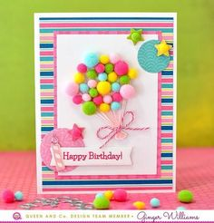 How to make an easy and cute balloon pom-pom bouquet card! BIRTHDAY BASH POM--GIRL VERSION! - Queen & Co Birthday Bash Card Kit, Ginger Williams