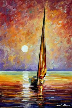 Gold Sail — Palette Knife Sailboat Seascape Ocean Wall Art Oil Painting On Canvas By Leonid Afremov. Size: X Inches cm x 90 cm) Oil Painting On Canvas, Canvas Art, Painting Canvas, Sailboat Painting, Knife Painting, Photo To Painting, City Painting, Painting Abstract, Art Amour