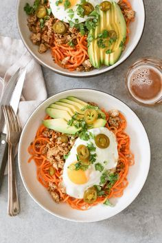 Spicy Chicken and Sweet Potato Noodle Bowls. These come together in less than 30 minutes with just a handful of ingredients. (GF, paleo, Dude Diet-friendly) via www.domesticate-me.com