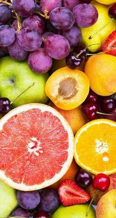 Fruit wallpaper #grape #orange #apple