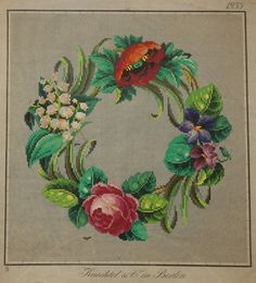 A Beautiful Berlin WoolWork Floral Wreath Pattern Produced By Knechtel In Berlin
