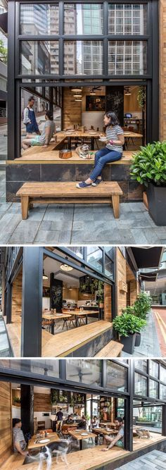 10 Unique Coffee Shops In Asia / JJA/Bespoke Architecture designed Elephant Grounds, a coffee shop in Hong Kong that emphasizes indoor-outdoor engagement thanks to it's design that opens out onto the street to encourage interaction between the people in t Rustic Coffee Shop, Cozy Coffee Shop, Coffee Shop Design, Rustic Cafe, The Coffee, Coffee Shops Ideas, Coffee Shop Branding, Bistro Design, Decoration Restaurant